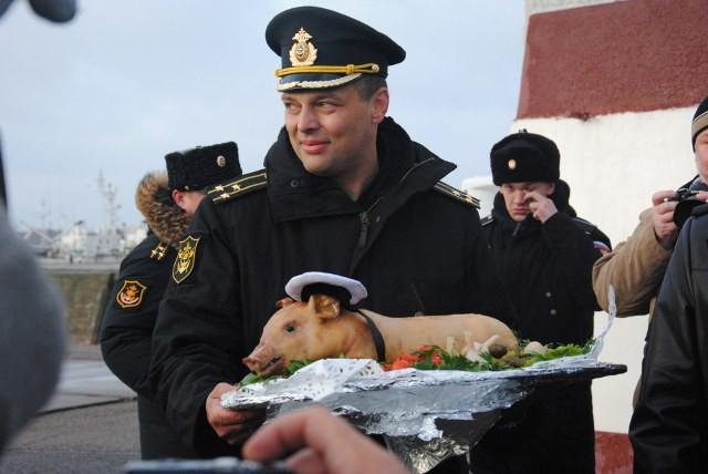 По кронштадтской традиции командиру корабля  капитану 1 ранга Юрию Малашевичу был вручён  жареный поросёнок